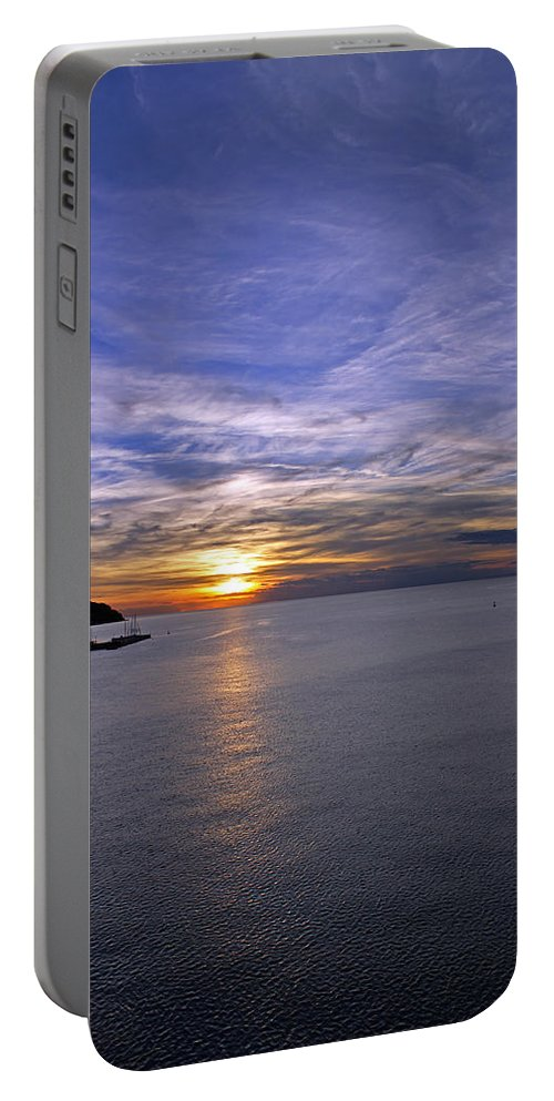 Setting Sun Portable Battery Charger featuring the photograph Sunset In Adriatic by Tony Murtagh
