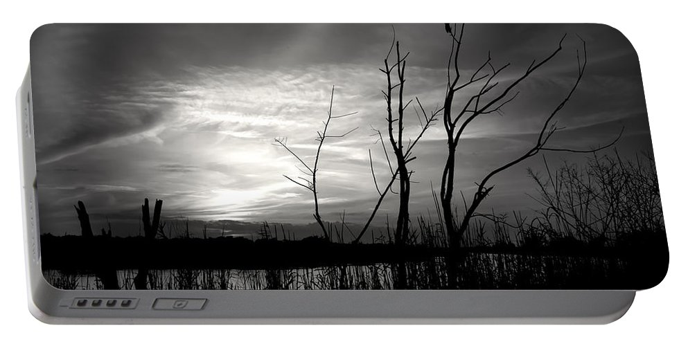 Sunset Portable Battery Charger featuring the photograph Sunset In Black And White by Mark Andrew Thomas