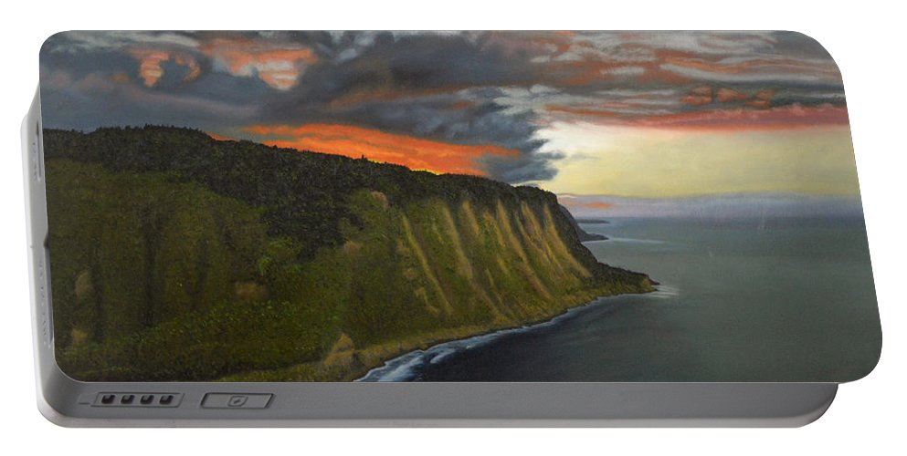 Waipio Lookout Portable Battery Charger featuring the painting Sunset In Paradise by Thu Nguyen