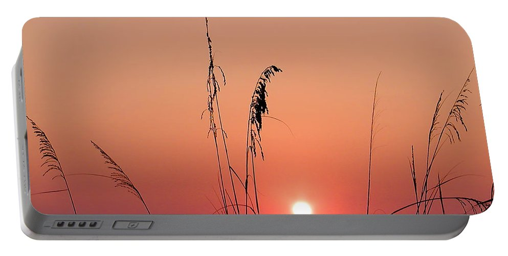 Tall Grass Portable Battery Charger featuring the photograph Sunset In Tall Grass by Bill Cannon