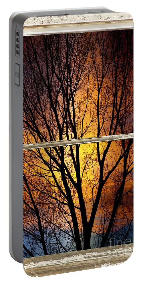 Window Portable Battery Charger featuring the photograph Sunset Into The Night Window View 3 by James BO Insogna