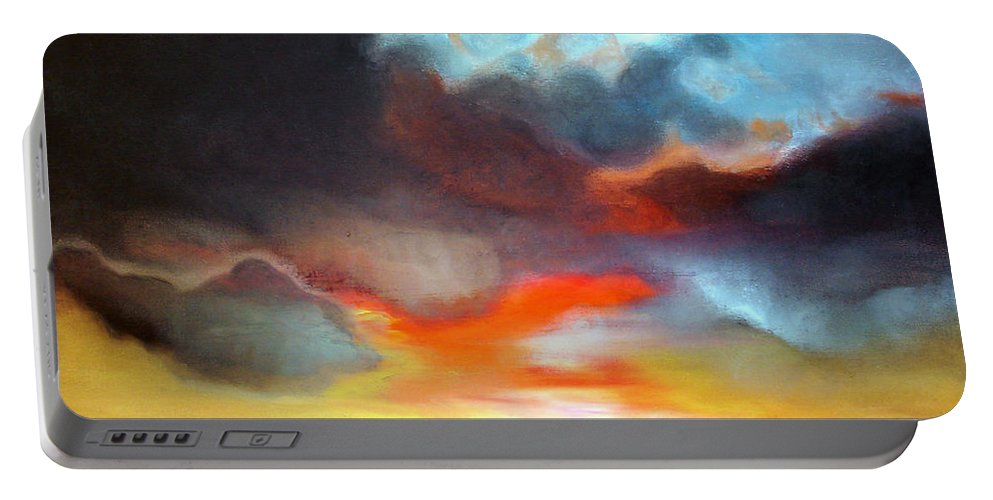 Sunset Portable Battery Charger featuring the painting Sunset by Isabelle Amante