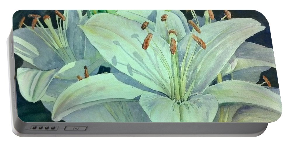 Garden Portable Battery Charger featuring the painting Sunset Lily by Bev Morgan