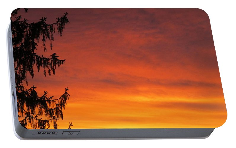Sun Portable Battery Charger featuring the painting Sunset Of Life by Robert Nacke