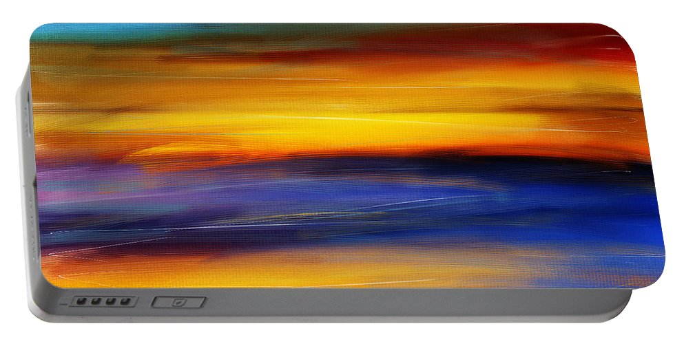 Seascapes Abstract Portable Battery Charger featuring the photograph Sunset Of Light by Lourry Legarde