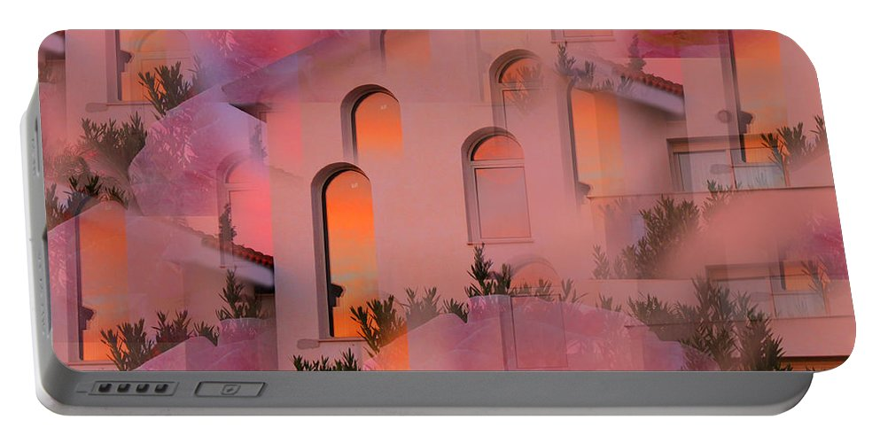 Augusta Stylianou Portable Battery Charger featuring the digital art Sunset On Houses by Augusta Stylianou