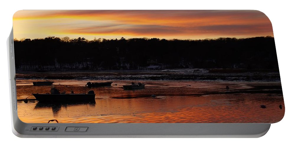 Sunset Water Cold Spring Harbor Huntington Town Long Island New York Boats Seagull Gull Ducks Trees Portable Battery Charger featuring the photograph Sunset On The Harbor by John Wall