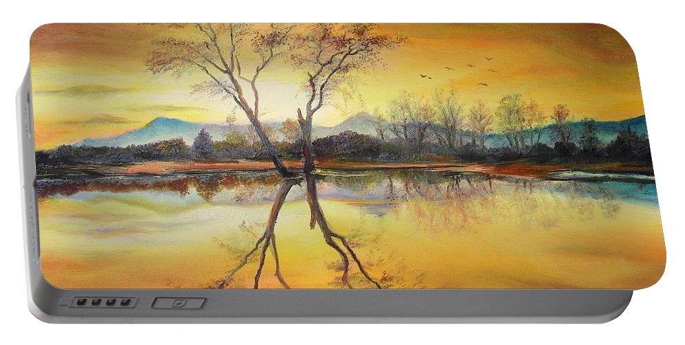 Autumn Portable Battery Charger featuring the painting Sunset On The Lake by Sorin Apostolescu