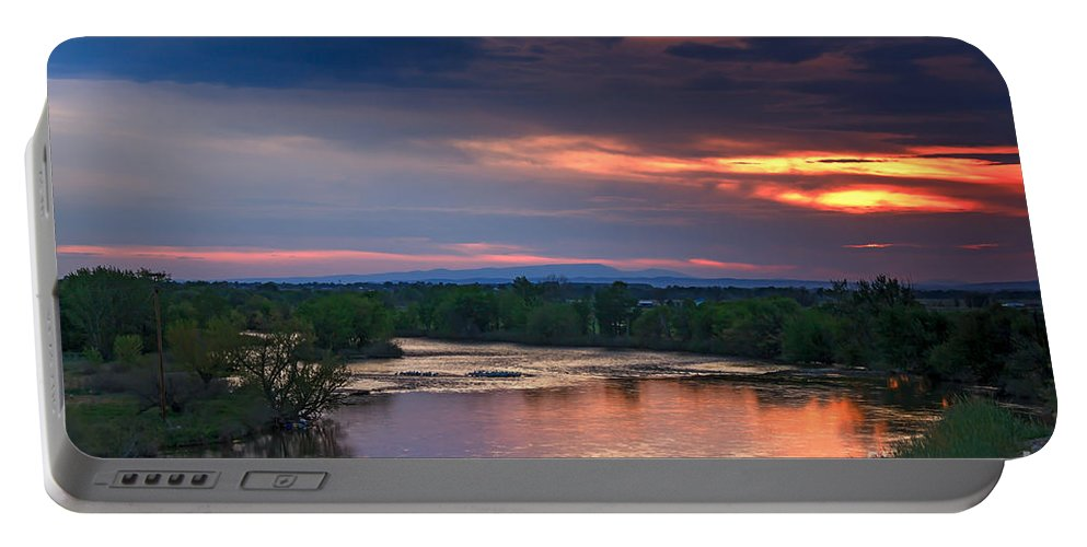 Sunset Portable Battery Charger featuring the photograph Sunset On The Payette River by Robert Bales