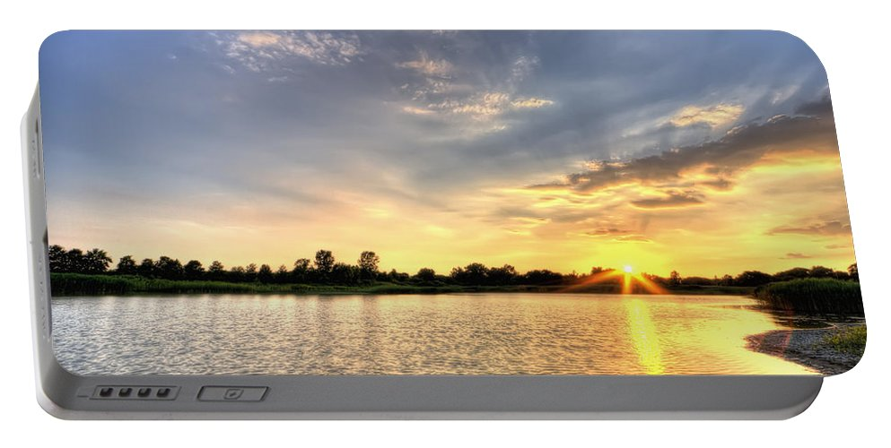 Hdr Portable Battery Charger featuring the photograph Sunset On The Pond by Scott Wood
