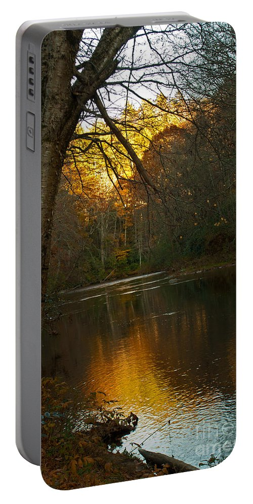 River Portable Battery Charger featuring the photograph Sunset On The River by Sandra Clark