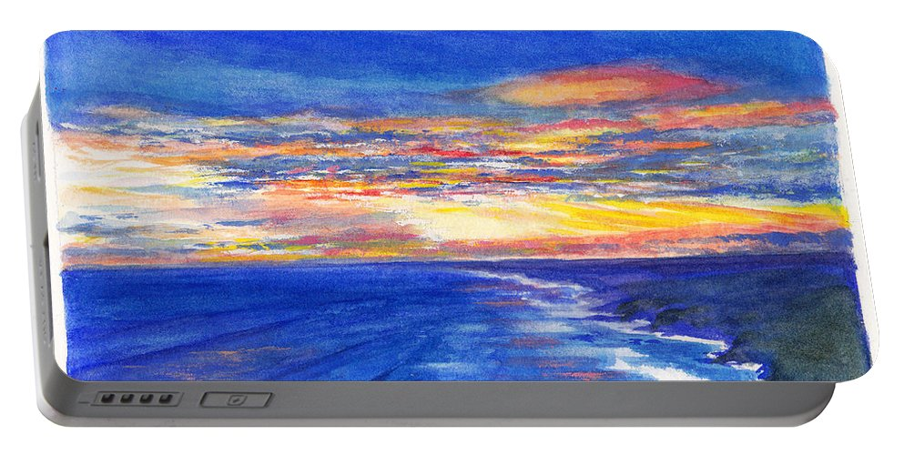 Cape Schanck Portable Battery Charger featuring the painting Sunset Over Point Lonsdale As Viewed From Cape Schanck by Dai Wynn