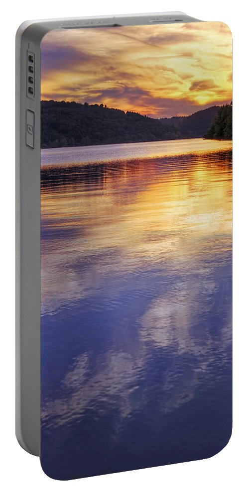 Sunset Portable Battery Charger featuring the photograph Sunset Over The Arkansas River by Jason Politte