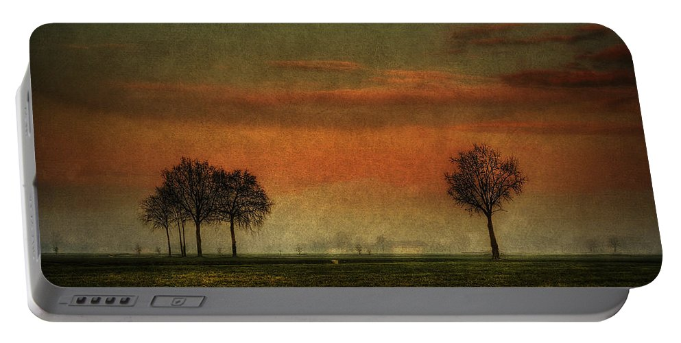 Albairate Portable Battery Charger featuring the photograph Sunset Over The Country by Roberto Pagani