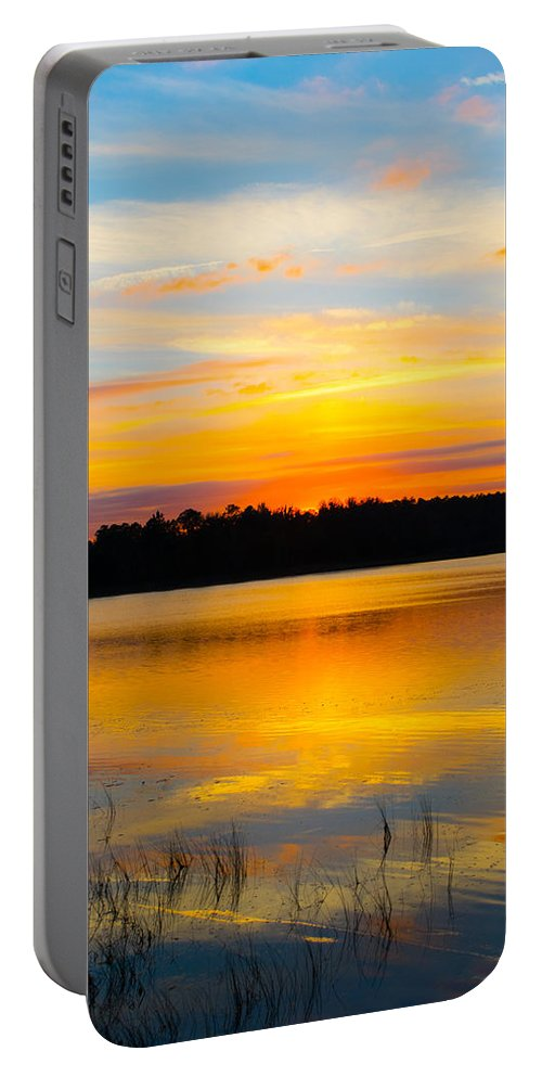 Sunset Portable Battery Charger featuring the photograph Sunset Over The Lake by Parker Cunningham