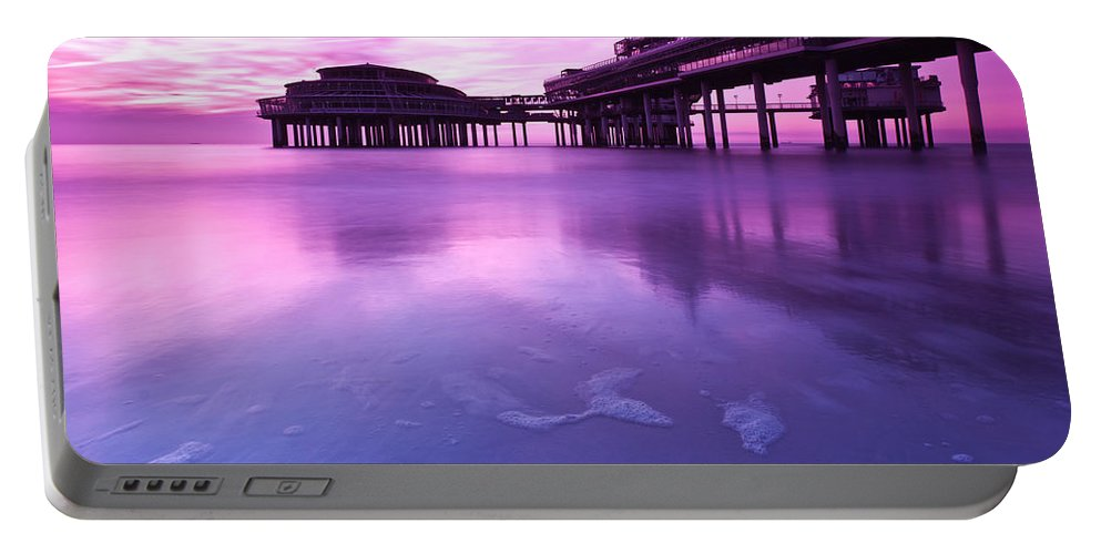 Scheveningen Portable Battery Charger featuring the photograph Sunset Over The Pier by Mihai Andritoiu