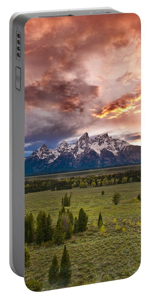 Grand Teton National Park Portable Battery Charger featuring the photograph Sunset Over The Tetons by Greg Wyatt