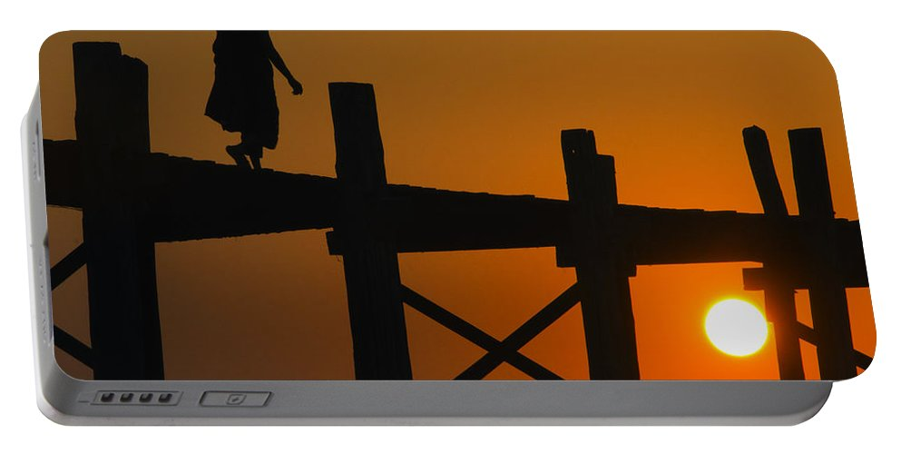 Myanmar Portable Battery Charger featuring the photograph Sunset Over The U Bein Foot Bridge by Claude LeTien