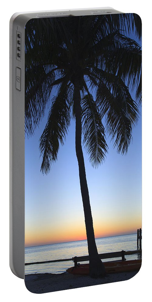 Bayshore Portable Battery Charger featuring the photograph Sunset Palm by Raul Rodriguez