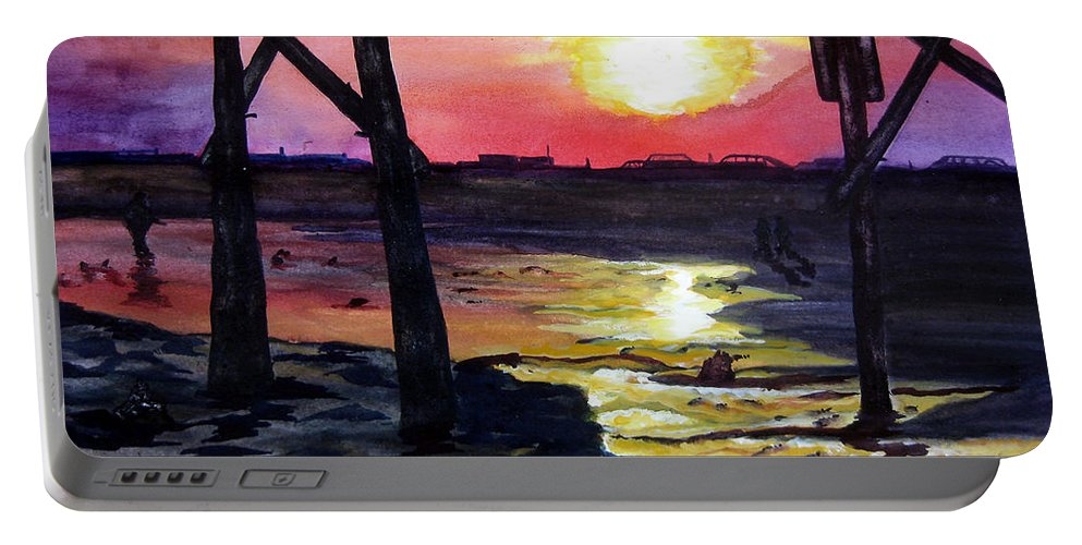 Pier Portable Battery Charger featuring the painting Sunset Pier by Lil Taylor