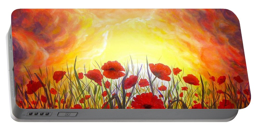 Original Art Portable Battery Charger featuring the painting Sunset Poppies by Lilia D