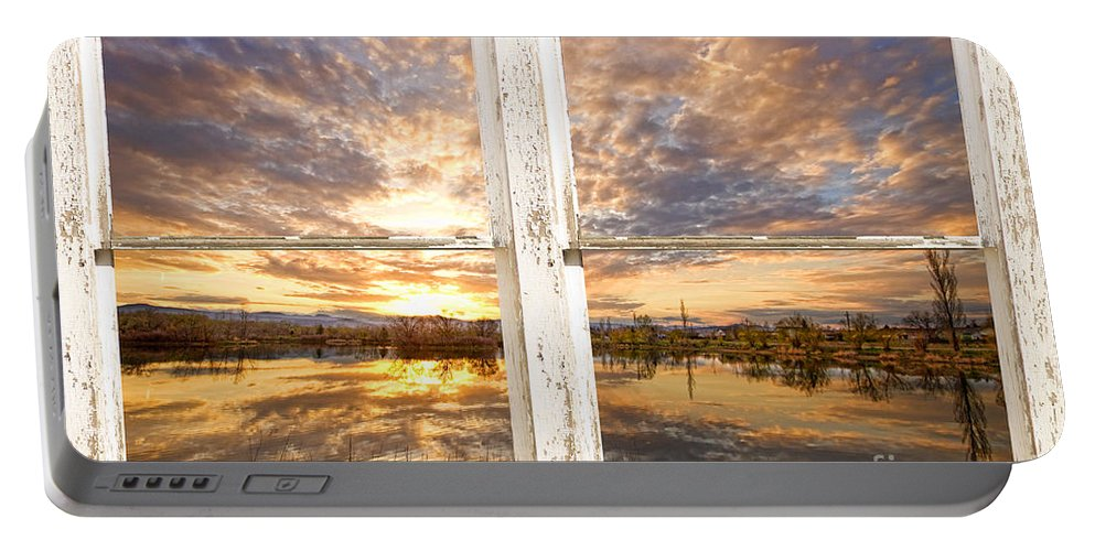 Window Portable Battery Charger featuring the photograph Sunset Reflections Golden Ponds 2 White Farm House Rustic Window by James BO Insogna