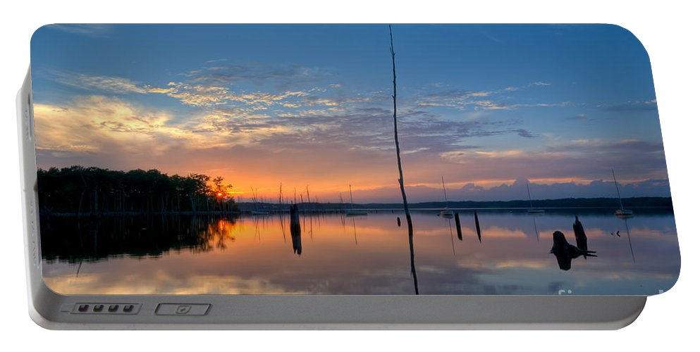 Manasquan Reservoir Portable Battery Charger featuring the photograph Sunset Reflections by Michael Ver Sprill