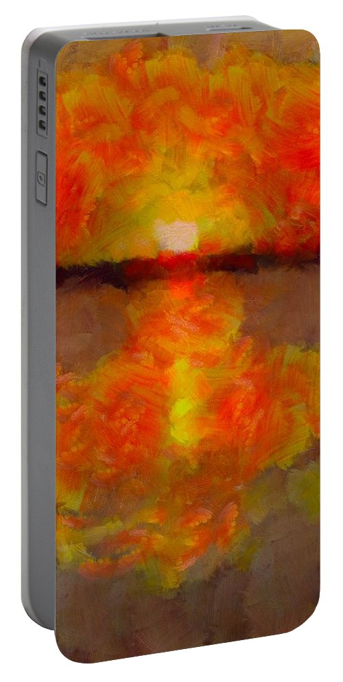 Sunset Reflections On The Dock Portable Battery Charger featuring the painting Sunset Reflections On The Dock by Dan Sproul