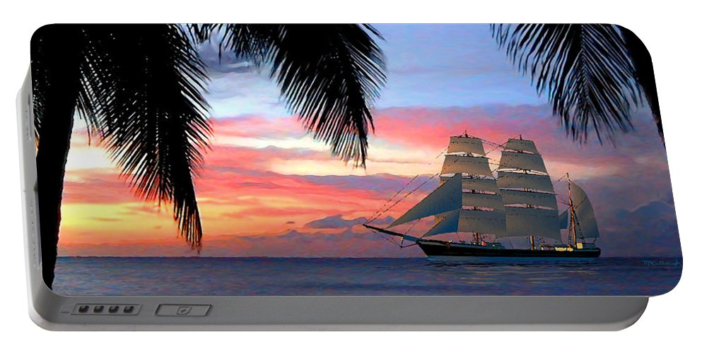 Duane Mccullough Portable Battery Charger featuring the digital art Sunset Sailboat Filtered by Duane McCullough