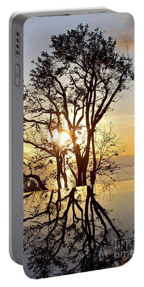 Photography Portable Battery Charger featuring the photograph Sunset Silhouette And Reflections by Kaye Menner