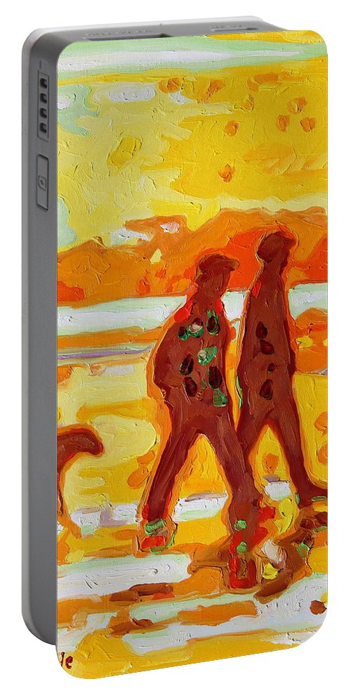 Sunset Beach Walk Portable Battery Charger featuring the painting Sunset Silhouette Carmel Beach With Dog by Thomas Bertram POOLE
