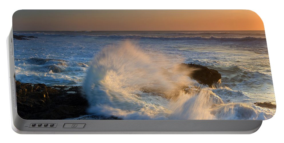 Yachats Portable Battery Charger featuring the photograph Sunset Spray by Mike Dawson