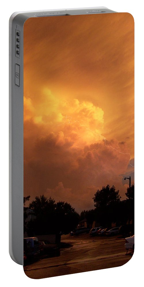 Sunset Portable Battery Charger featuring the photograph Sunset Storm by Nick Mosher