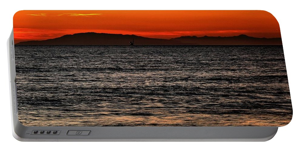 Santa Cruz Portable Battery Charger featuring the photograph Sunset Surfer by Michael Gordon