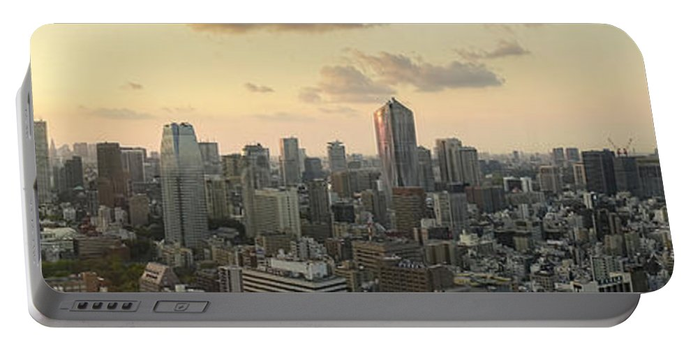 Tokyo Portable Battery Charger featuring the photograph Sunset Tokyo Tower Panorama by For Ninety One Days