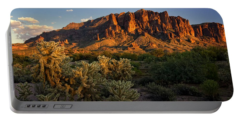 Sunset Portable Battery Charger featuring the photograph Sunset View Of The Superstitions by Saija Lehtonen