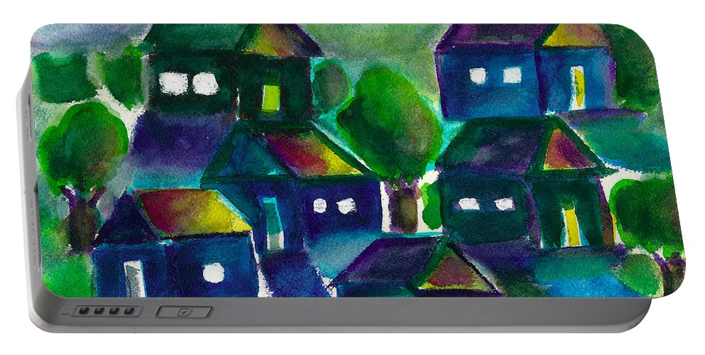 Sunset Portable Battery Charger featuring the painting Sunset Village Watercolor by Frank Bright