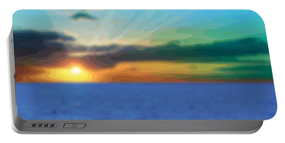Abstract Portable Battery Charger featuring the digital art Sunset Waters by James Kramer