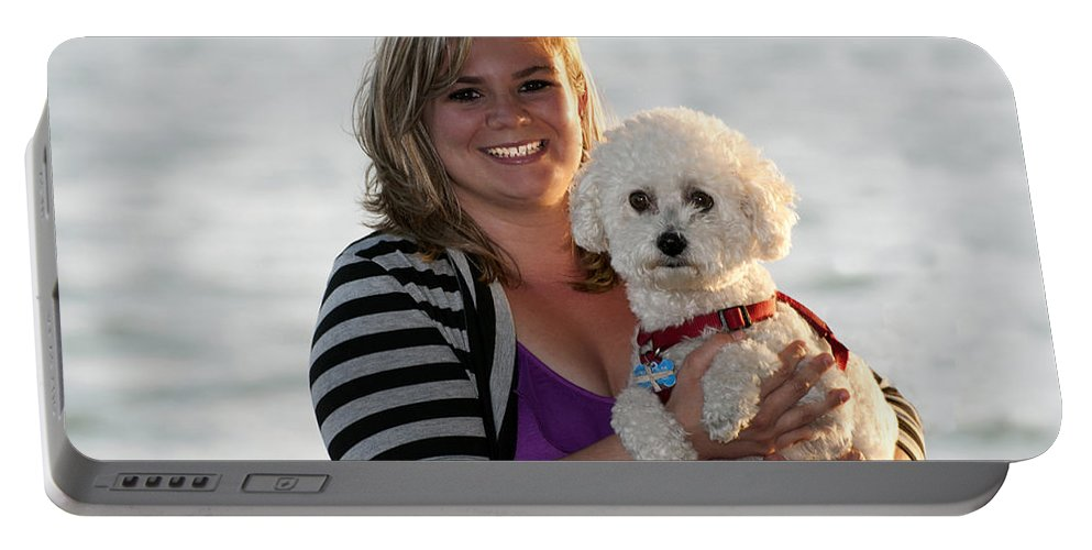Smile Portable Battery Charger featuring the photograph Sunset With Young American Woman And Poodle by Sally Rockefeller