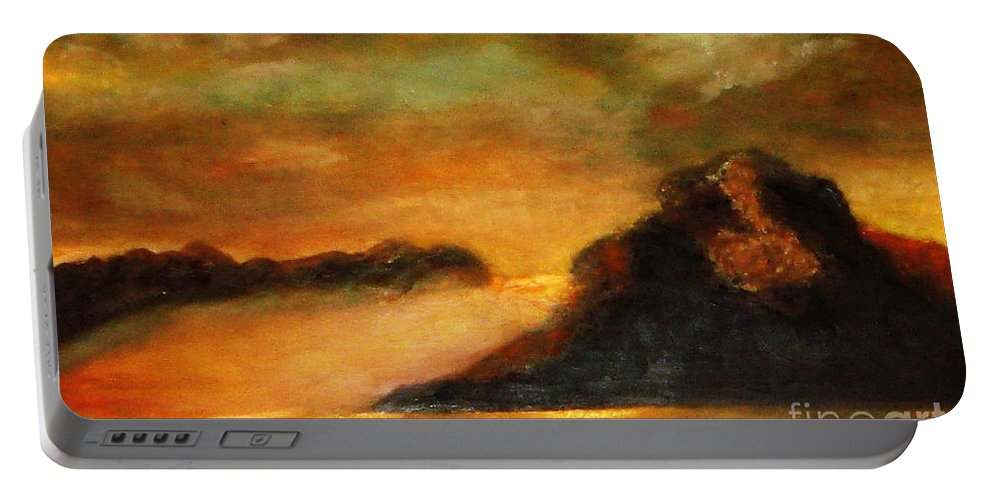 Sunset Portable Battery Charger featuring the painting Sunset by Yael VanGruber