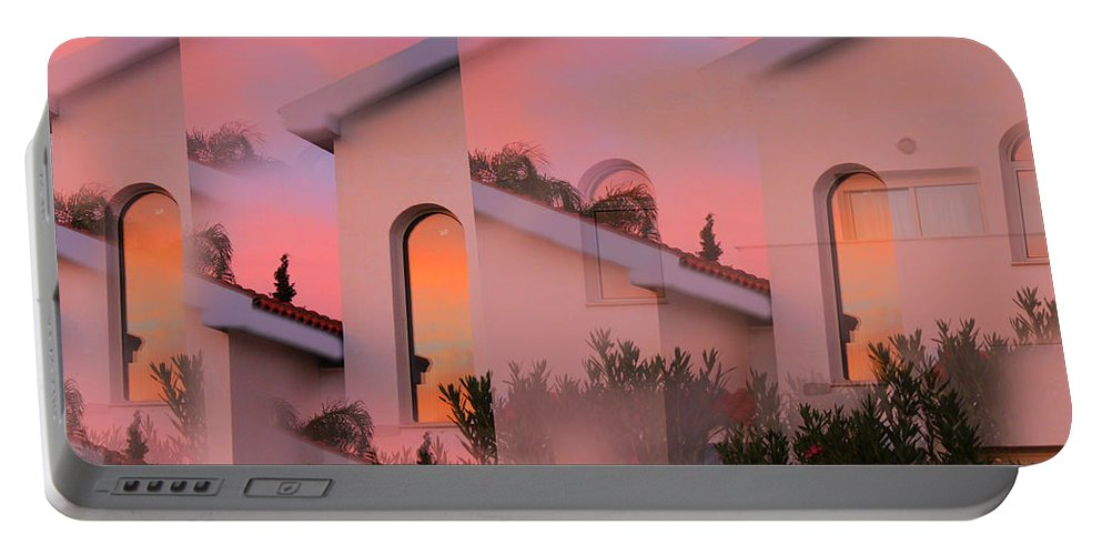 Augusta Stylianou Portable Battery Charger featuring the digital art Sunsets On Houses by Augusta Stylianou