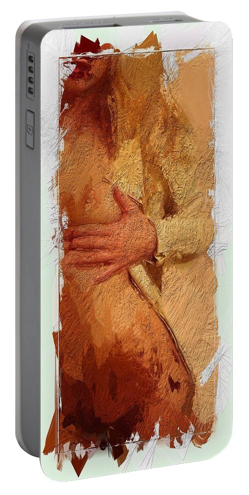 Girl Boobs Tits Nipples Curves Butt Erotic Sensual Expressionism Sexy Nude Female Woman Portable Battery Charger featuring the painting Sunshine Girl by Steve K