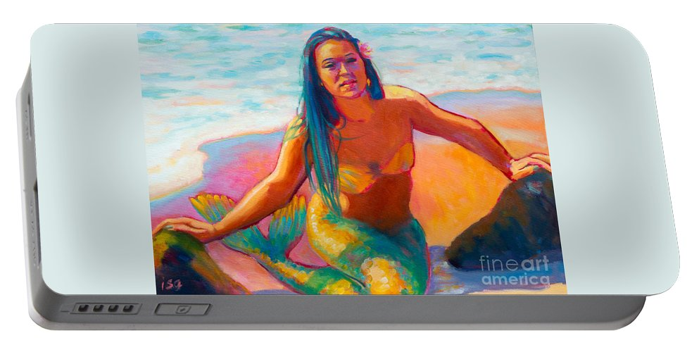 Mermaid Portable Battery Charger featuring the painting Sunshine by Isa Maria
