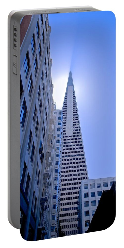 Transamerica Portable Battery Charger featuring the photograph Sunshine On The Pyrimid by Eric Tressler