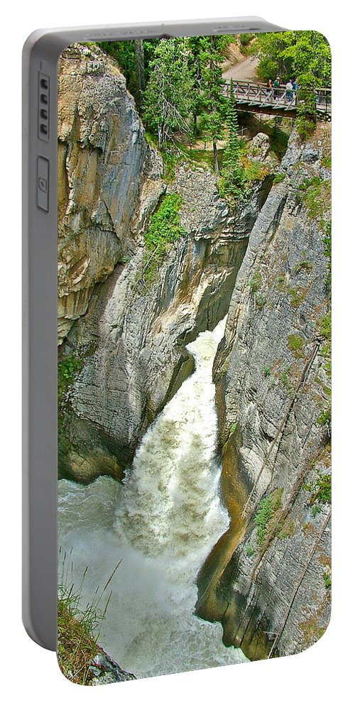 Sunwapta Falls Along Icefields Parkway In Alberta Portable Battery Charger featuring the photograph Sunwapta Falls Along Icefields Parkway In Alberta by Ruth Hager