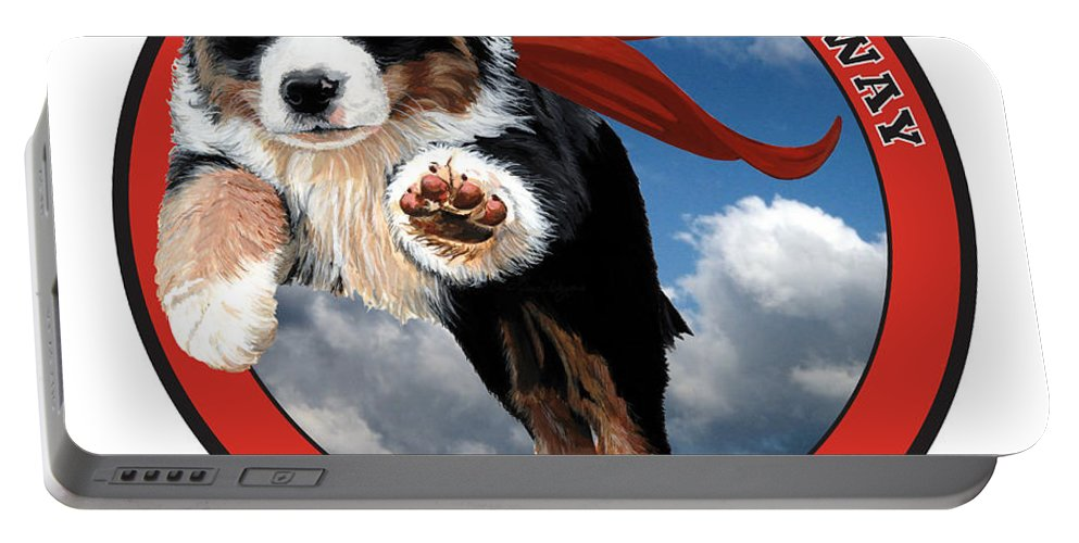 Bernese Mountain Dog Berner Pup Puppy Flying Sky Up Up And Away Red Super Cape B Is For Berner Love Happy Playing Liane Weyers Artist Painting Art Love Portable Battery Charger featuring the painting Super Berner by Liane Weyers