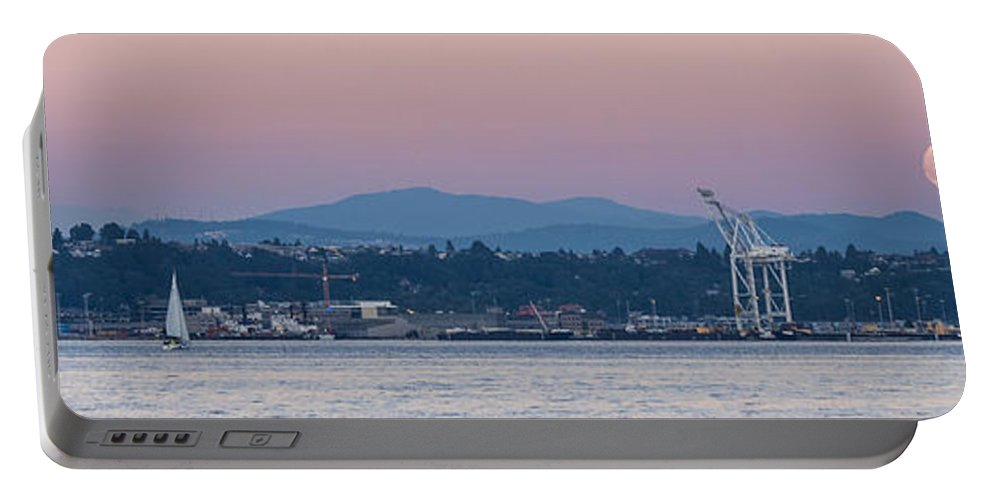 Full Moon Portable Battery Charger featuring the photograph Super Moon And Sailing Panorama by Scott Campbell