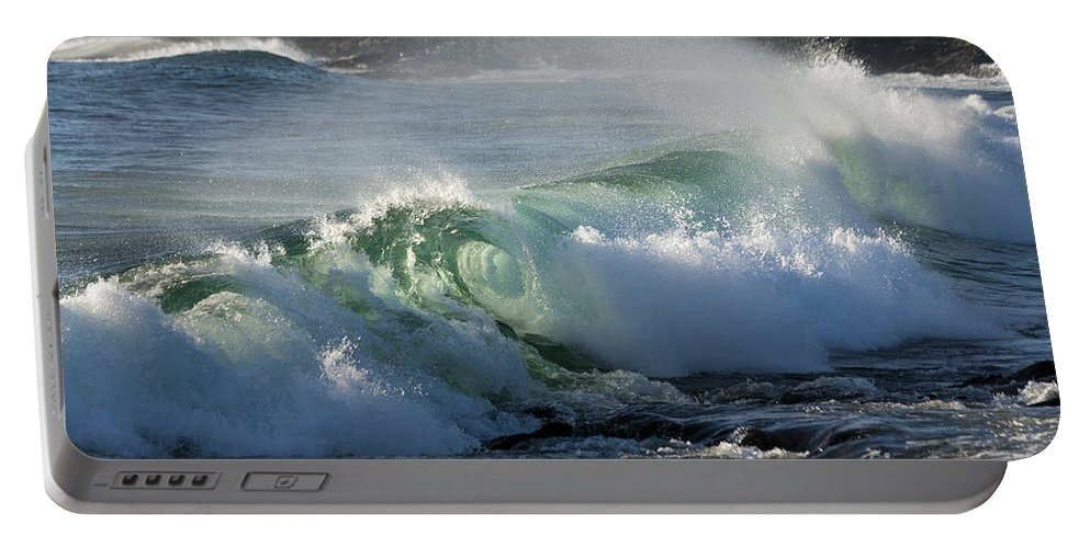 Heiko Portable Battery Charger featuring the photograph Super Wave At The Barents Sea Coast by Heiko Koehrer-Wagner