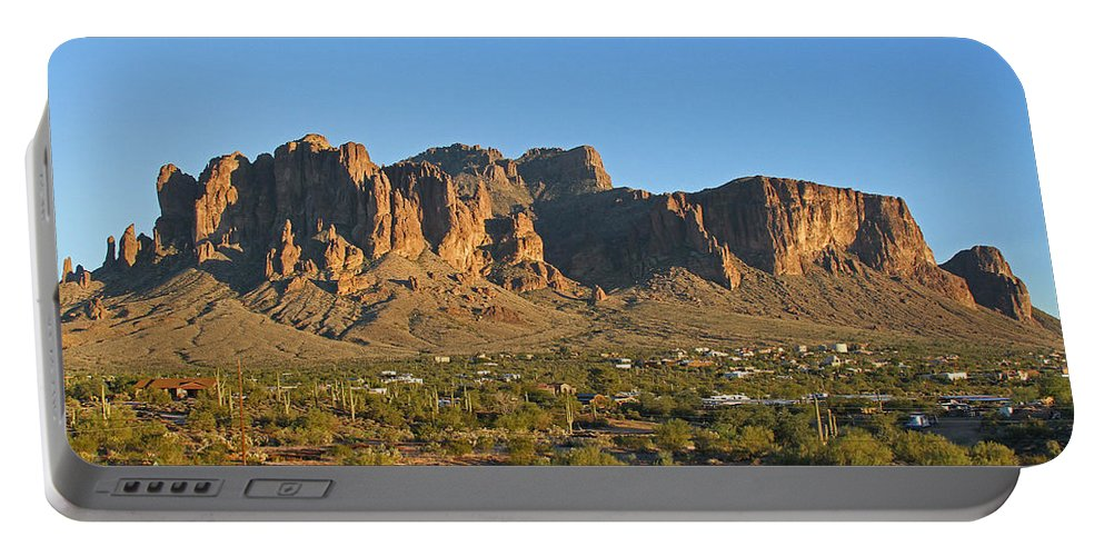 Superstition Mountain Portable Battery Charger featuring the photograph Superstition Mountain In The Evening Sun by Tom Janca