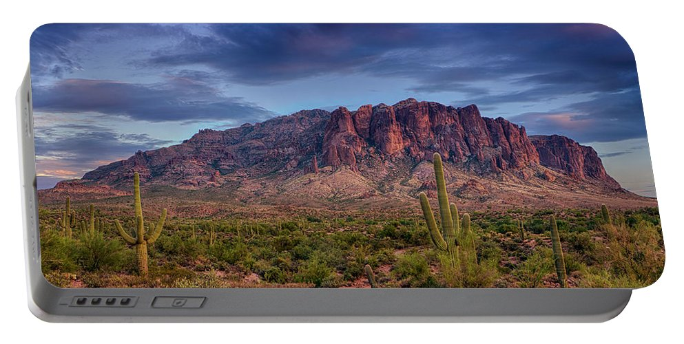 Sunset Portable Battery Charger featuring the photograph Superstition Twilight by Saija Lehtonen